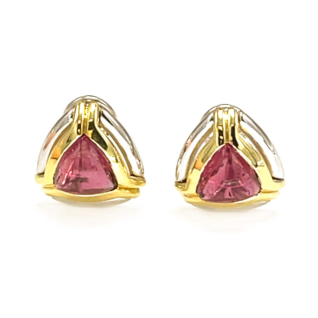 18k Two Tone Pink Tourmaline Earrings