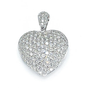 18k White Gold Pave Diamond Heart Pendant Necklace