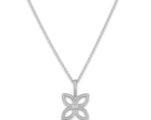 Louis Vuitton 18K White Gold Flower Diamond Necklace Length: 18""