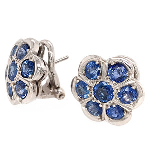 Platinum Sapphire Flower Earrings