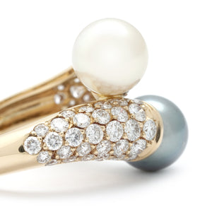 Van Cleef & Arpels 18K Yellow Gold Diamond and Pearl Bypass Ring Size: 5.25