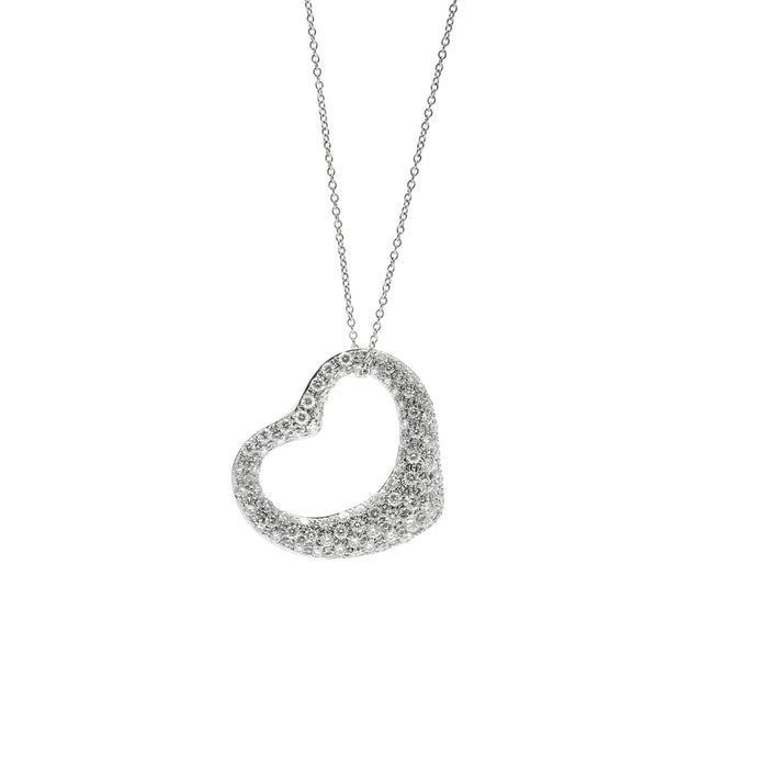 Tiffany and Co. Elsa Perretti Platinum Diamond Open Heart Necklace