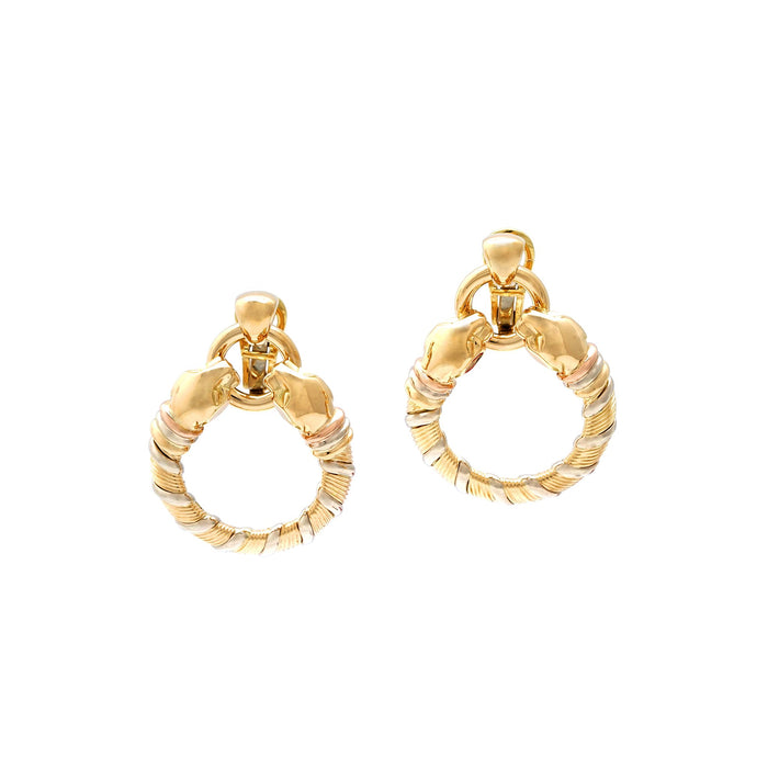 Cartier 18K Yellow and White Panther Earrings