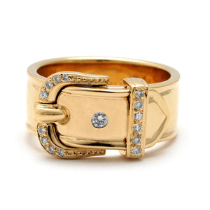 Hermes 18K Yellow Gold Diamond Buckle Band Ring Size: 5.5