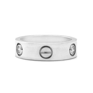 Cartier 18K White Gold 3 Diamond Love Ring Size: 5.75