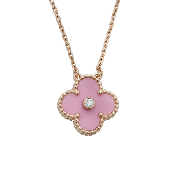 Van Cleef & Arpels 18K Rose Gold Diamond Alhambra Porcelain Necklace Length: 17""