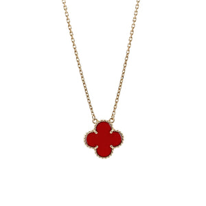 Van Cleef & Arpels 18K Yellow Gold Alhambra Carnelian Necklace Length: 17""