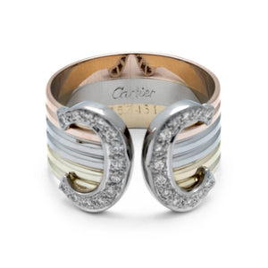 Cartier 18K Yellow, White, and Rose Gold Diamond C Ring Size: 8