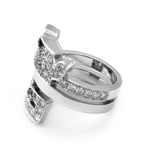 Cartier 18K White Gold Diamond Baiser Du Dragon Ring Size: 5.25