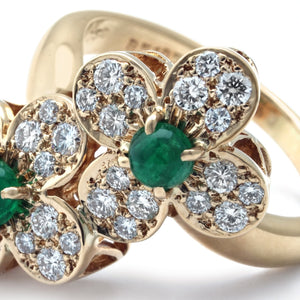 Van Cleef & Arpels 18K Yellow Gold Diamond and Emerald Trefle Ring Size: 5.5