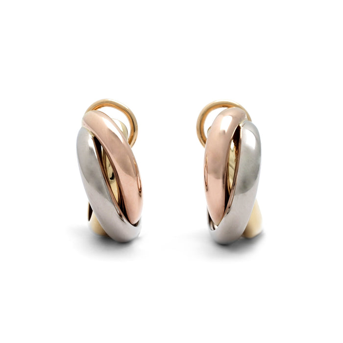 Cartier 18K Yellow, Rose, and White Gold Trinity Earrings