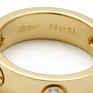 Cartier 18K Yellow Gold 3 Diamond Love Ring Size: 6.75