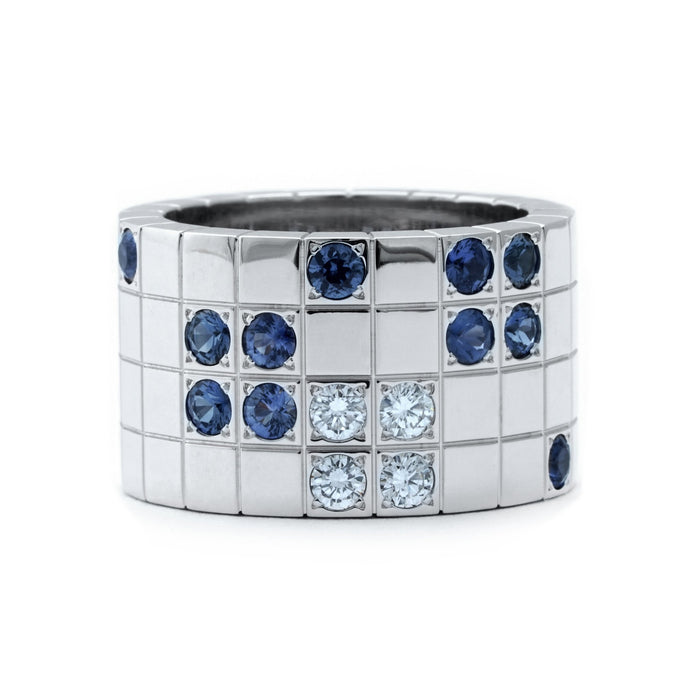 Cartier 18K White Gold Sapphire and Diamond Lanieres Ring Size: 5.75
