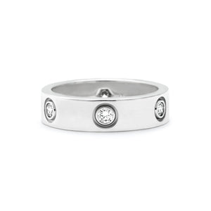 Cartier 18K White Gold 3 Diamond Love Ring Size: 5.25