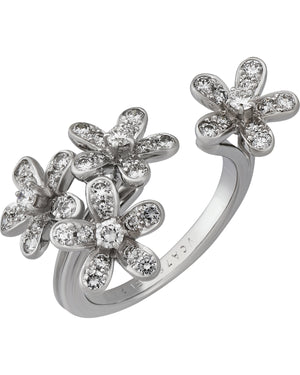 Van Cleef and Arpels 18K White Gold Diamond Flower Ring Size: 6.25 - 7 (open ring)