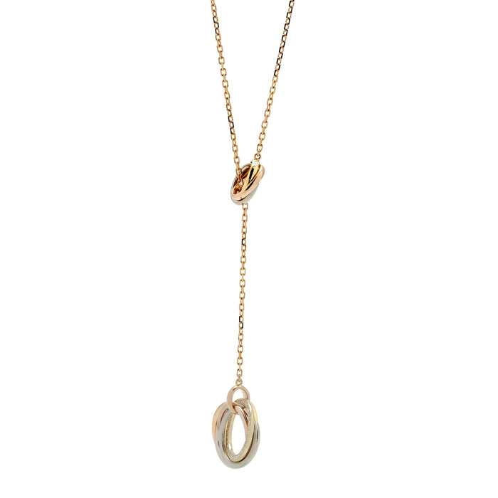 Cartier 18K Yellow, White and Rose Gold Trinity Necklace Length: 18""