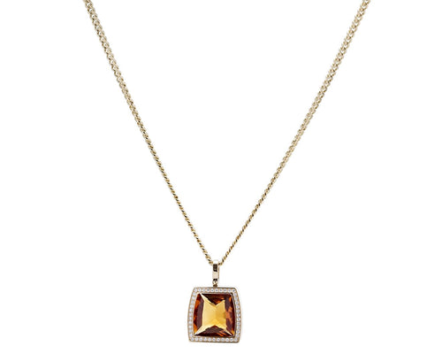 Cartier 18K Yellow Gold Diamond and Citrine La Dona Necklace Length: 16""