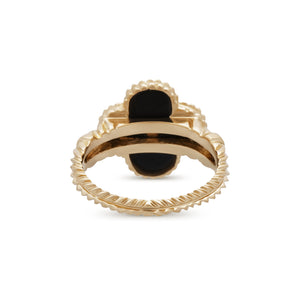 Van Cleef & Arpels 18K Yellow Gold Alhambra Diamond Onyx Ring Size 6.5
