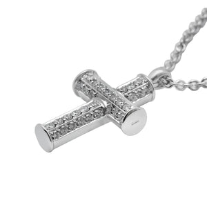 Bvlgari 18K White Gold Diamond Cross Necklace Length: 16""