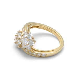 Van Cleef & Arpels 18K Yellow Gold Diamond Leurette Flower Ring Size: 7