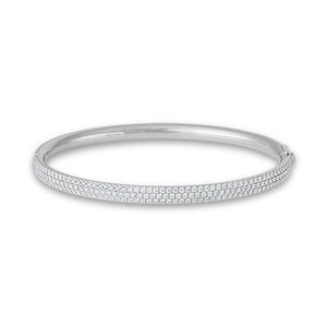 Tiffany & Co.  18K White Gold Metro Hinged M Diamond Bangle Length: 6.5""