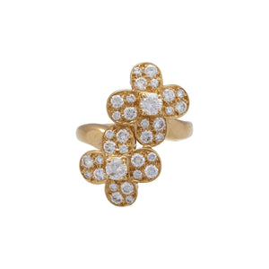 Van Cleef & Arpels 18K Yellow Gold Diamond Trefle Ring Size: 4.25