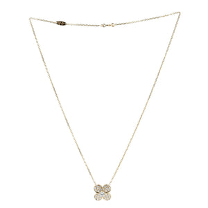 Van Cleef 18K Yellow Gold Diamond Trefle Large Necklace Length: 16.5""