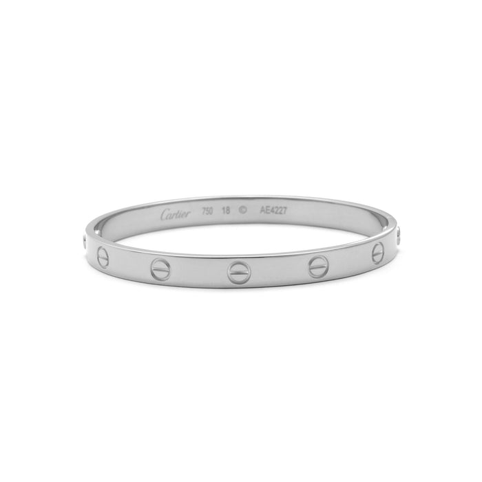 Cartier 18K White Gold Love Bracelet Size: 18