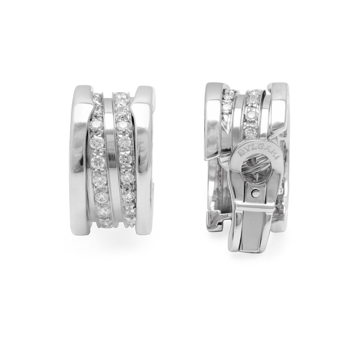 Bvlgari 18K White Gold B.Zero1 Diamond Earrings