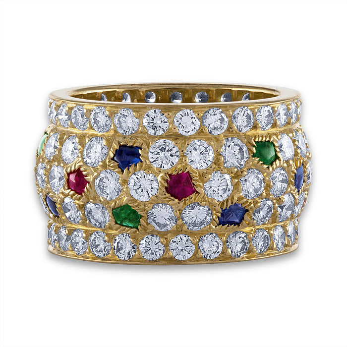 Cartier 18K Yellow Gold Sapphire, Emerald , Ruby and Diamond Ring Size: 5.75