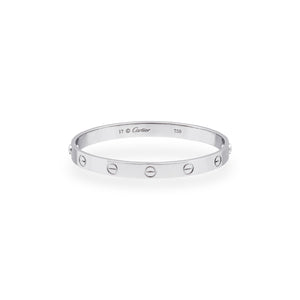 Cartier 18K White Gold Love Bracelet Size: 17