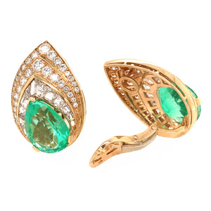 Tabbah 18k Yellow Gold  Diamond and Emerald Earrings