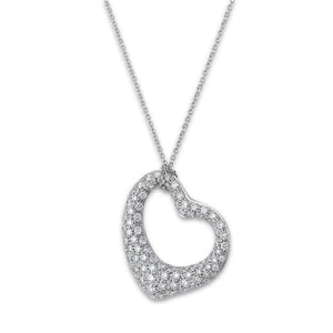 Tiffany & Co Platinum Diamond Elsa Perretti Open Heart Necklace Length: 17""