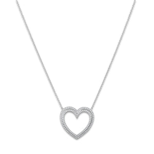 Tiffany & Co. Platinum Diamond Large Heart Necklace Length: 17.5""
