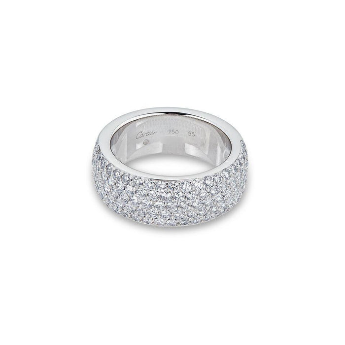 Cartier 18K White Gold Diamond Pave Ring Size: 7.5