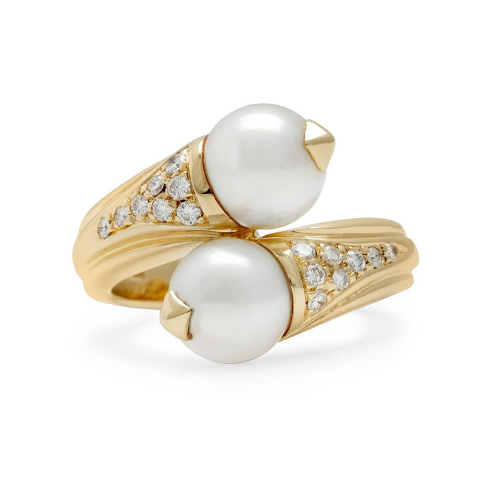 Bvlgari 18K Yellow Gold Double Pearl Cross Over Ring Size: 5.75