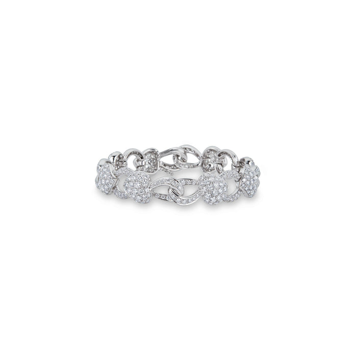 Boucheron 18K White Gold Heart Diamond Bracelet Length: 7""