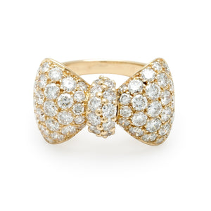 Piaget 18K Yellow Gold Diamond Bow Ring Size: 6.5