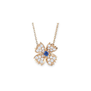 Boucheron 18K Yellow Gold Sapphire and Diamond Flower Necklace Length: 15""