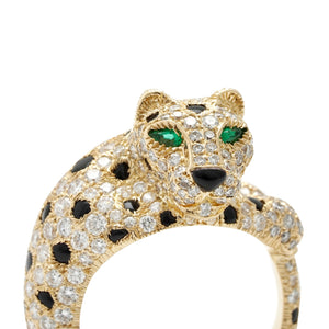Cartier 18K Yellow Gold Diamond and Emerald Eyed Panther Ring Size: 6.5