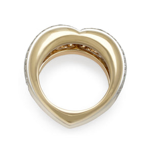 Cartier 18K Yellow and Rose Gold Diamond Heart Shaped Ring Size: 6.5