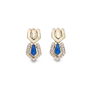 Boucheron 18K Yellow Gold Lapis & Diamond Earrings