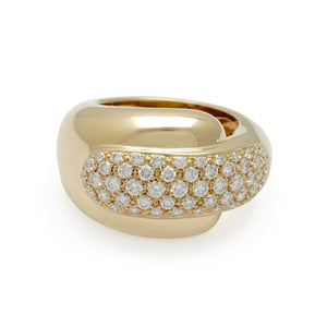 Chaumet 18K Yellow Gold Diamond Ring Size 6.5