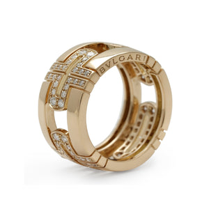 Bvlgari 18K Yellow Gold Diamond Parentesi Ring Size: 6.75