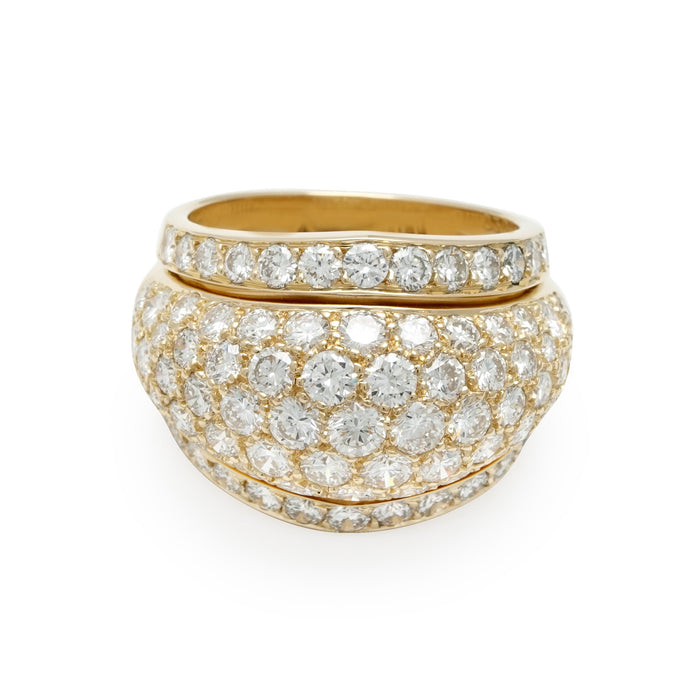 Cartier 18K Yellow Gold Diamond Pave Ring Size: 6.75