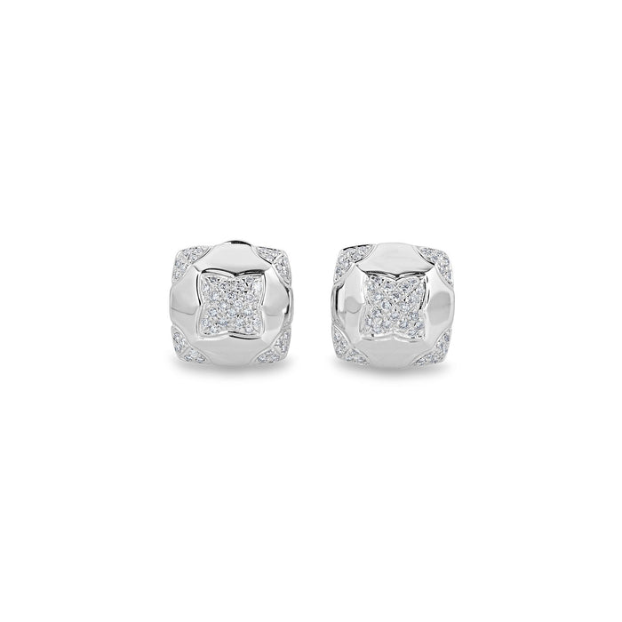 Bvlgari 18K White Gold Diamond Pyramid Earrings
