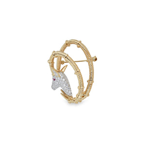 Tiffany & Co. 18K Yellow Gold Diamond Ram Schlumberger Brooch