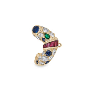Piaget 18K Yellow Gold Diamond, Emerald, Sapphire and Ruby Earrings