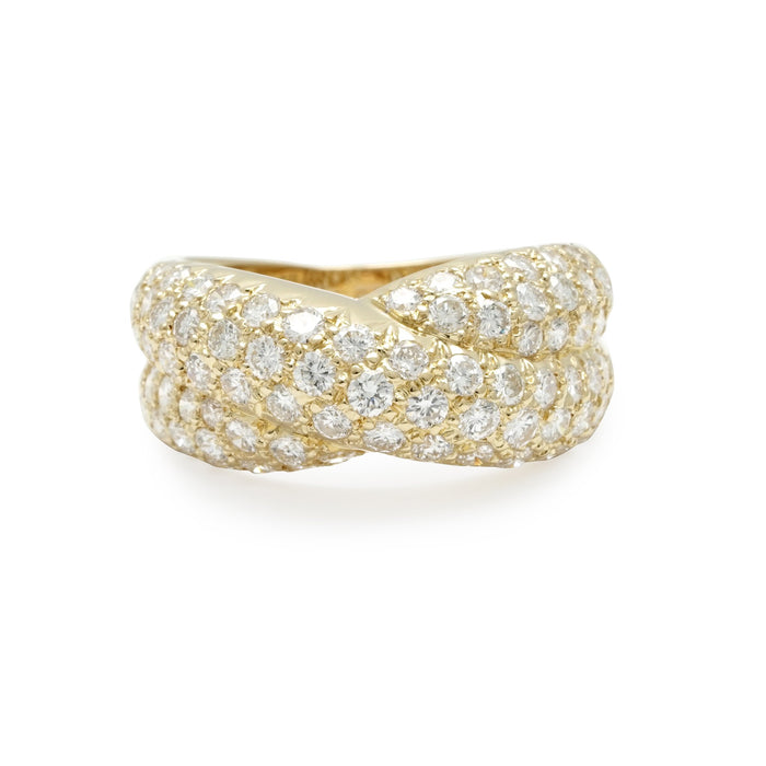 Van Cleef & Arpels 18K Yellow Gold Diamond Cross Over Ring Size: 6.5