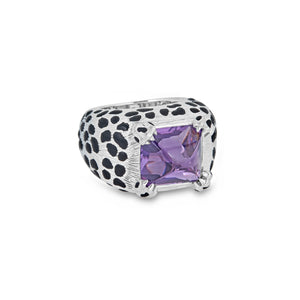 Dior 18K White Gold Onyx and Purple Amethyst Print Ring Size: 5.5
